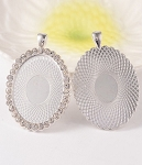 40x30mm Bright Silver Cameo Pendant Setting with Rhinestones 101z
