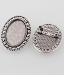 25x18mm Antique Silver Brooch Setting with Pin Back Cabochon Setting 102z
