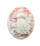 25x18mm Guardian Angel Pink White Resin Cameo 103a
