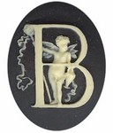 40x30mm Black Ivory Alphabet Letter B or Initial Flat Back Cabochon with cherub