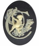 40x30mm Black Ivory Alphabet Letter C or Initial Flat Back Cabochon with cherub Angels 139x