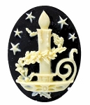 Holiday Candle Resin Cameo 40x30mm Christmas Theme Cabochon Black Ivory 13c