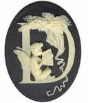 40x30mm Black Ivory Alphabet Letter D or Initial Flat Back Cabochon with cherub Angels 140x