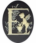 40x30mm Black Ivory Alphabet Letter E or Initial Flat Back Cabochon with cherub Angels 141x