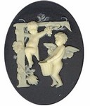 40x30mm Black Ivory Alphabet Letter F or Initial Flat Back Cabochon with cherub Angels 142x