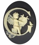 40x30mm Black Ivory Alphabet Letter G or Initial Flat Back Cabochon with cherub Angels 143x