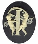 40x30mm Black Ivory Alphabet Letter I or Initial Flat Back Cabochon with cherub Angels 145x