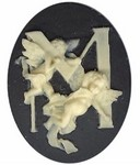 Cabochon Cameo Letter M Monogram Personalized Resin Initials 40x30mm Black