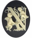 Cabochon Cameo Letter N Monogram Personalized Resin Initials 40x30mm Black