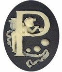 Cabochon Cameo Letter P Monogram Personalized Resin Initials 40x30mm Black