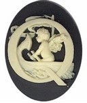Cabochon Cameo Letter Q Monogram Personalized Resin Initials 40x30mm Black