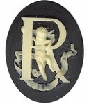 Cabochon Cameo Letter R Monogram Personalized Resin Initials 40x30mm Black