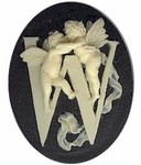 "159x Resin 40x30 black/ivory letter ""W"" Alphabet Cameo"