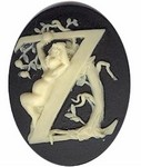 Cabochon Cameo Letter Z Monogram Personalized Resin Initials 40x30mm Black