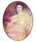 40x30mm  Glass cabochon  victorian lady cameo in yellow photo 177x