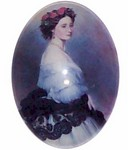 40x30mm Glass Cabochon Lady in Blue Cameo 182x