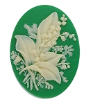 40x30mm lily of the Valley Flower Bouquet Green Ivory Garden Resin Cameo 18c