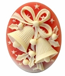 Christmas Bells Resin Cameo 40x30mm Carnelian Ivory Holiday Theme Cabochon 1c
