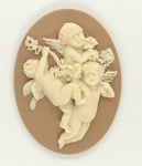 40x30mm three cherubs tan creme resin cameo religious heavenly heaven S4058