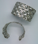 Adjustable Cuff Bracelet Silver Diamond Pattern 20c