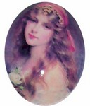 40x30mm Glass Cabochon Gypsy Lady with long hair 222x