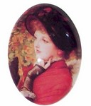 40x30mm Lady in Red Glass Cabochon 225x