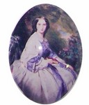 226x Glass 40x30 Girl in Violet Dress Cabochon