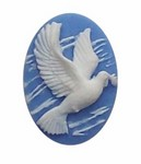 25x18mm Blue Peace Dove with Olive Branch 258x