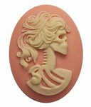 Resin Cameo 40x30mm Pink Skull Lolita Skeleton Flat Back Cabochon 271x