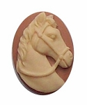 25x18mm Tan and Crème Horse Resin Cameo Cameo 273x
