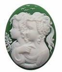 40x30mm Green Twin Girls Sisters Resin Cameo 274x