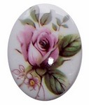 40x30mm Limoge Style Plastic Decal Pink Rose Cameo 279x