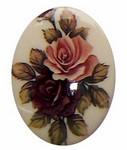 280x Plastic 40x30 Decal Double Rose Cameo