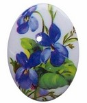 Plastic 40x30mm Limoge Decal Blue Violets Cameo 302x