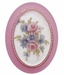 303x Plastic 40x30 Pink Flower Mirror Back Cameo