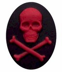 Resin Cameo 40x30mm Black Red Pirate Skull cross bones Skeleton 306x