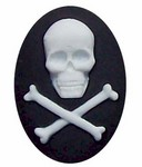40x30mm Black Skull and Cross Bones Skeleton Pirate Resin Cameo 308x