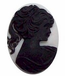 40x30mm Black center on White Pony Tail Girl Resin Cameo 314x