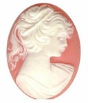 40x30mm Victorian Woman with Ponytail Pastel Pink and White Resin Cameo 321R
