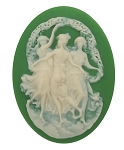40x30mm Three Muses Dancing Girls in Green Resin Cameo Cabochon 352x