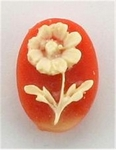 14x10mm Carnelian and Ivory Flower Resin Cameo 354x