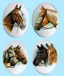 Horse Cameos Set of 4 images 40x30mm Plastic 357x