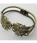 Antique Bronze Hinged Bracelet with Filigree 402x