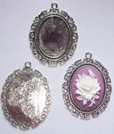 40x30mm Antique Silver Cabochon Pendant Setting with ring 433x