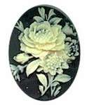 40x30mm resin cameo flower bouquet Black Ivory 452R