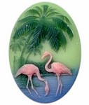 453r 40x30mm resin cameo with flamingo