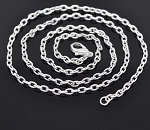 Silver Textured 20 inch Cable Chain Necklace 4x2.5mm 500x