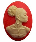 Black Woman 40x30mm Cameo African American Lady Resin Orange Ivory 546x
