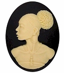 40x30mm African American Cameo Black Woman Resin Cameo Black and Ivory 547xL