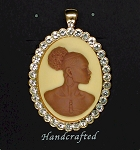 African American Woman Gold Rhinestone Pendant Brown Ivory African Jewelry 548x918x